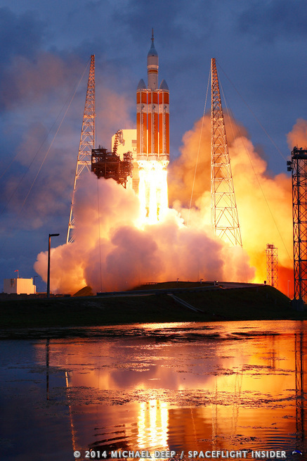EFT-1 Orion launch by the water at the Kennedy Space Center. Photo Credit: Michael Deep / SpaceFlight Insider