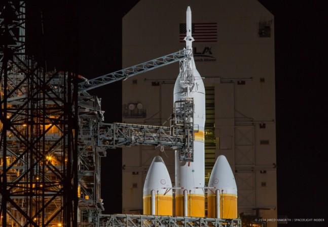 NASA Orion spacecraft EFT-1 Exploration Flight Test 1 Delta IV Heavy Cape Canaveral Air Force Station Space Launch Complex 37 SLC-37 Photo Credit Jared Haworth SpaceFlight Insider