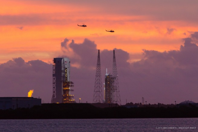 Helicopters over SLC-37B at Kennedy Space Center for Orion EFT-1. Photo Credit: SpaceFlight Insider/Jared Haworth
