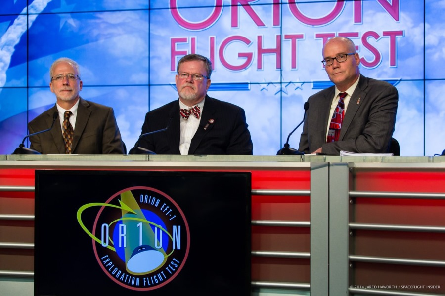 From left-to-right NASA Orion Program Manager Mark Geyer Lockheed Martin's Orion Program Manager Michael Hawes and United Launch Alliance's Dan Collins. Photo Credit: Jared Haworth / SpaceFlight Insider