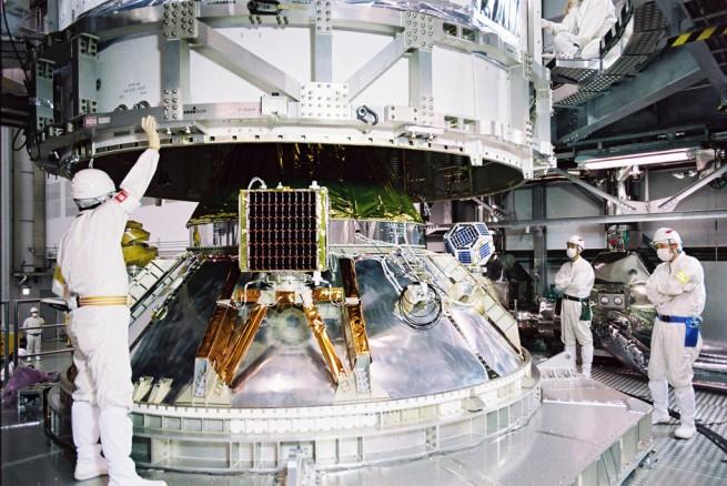 Fairing assembly at a JAXA facility for the Hayabusa 2 spacecraft. Photo Credit: JAXA