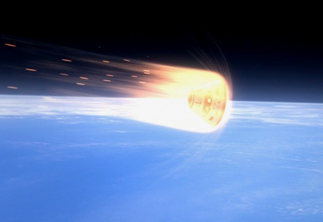 Orion Exploration Flight Test 1 EFT-1 reentering Earth's atmosphere NASA image posted on SpaceFlight Insider