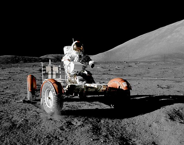 Apollo 17 Commander Eugene Gene Cernan Lunar Rover Vehicle Taurus-Littrow Valley photo credit Harrison Jack Schmitt NASA posted on SpaceFlight Insider