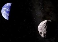 Artist's impression of Asteroid Apophis in front of Earth image credit Dan Durda FIAAA posted on SpaceFlight Insider