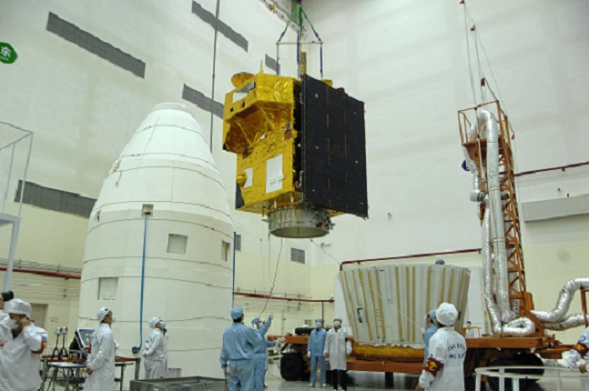 CBERS-4 being loaded into the payload bay of the Long March 4B. Photo Credit: AEB as seen on Spaceflight Insider