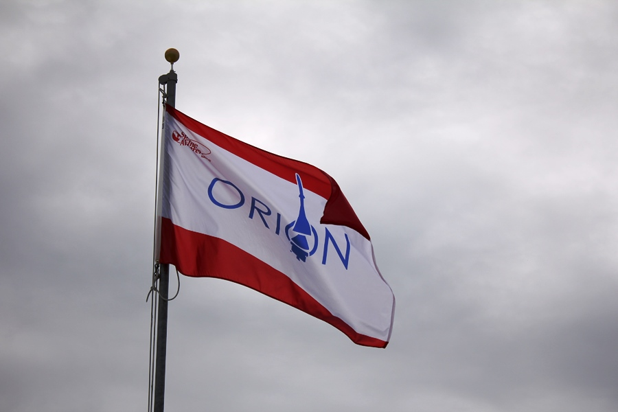 EFT-1 Kennedy Space Center Orion flag. Photo Credit: Sawyer Rosenstein / SpaceFlight Insider