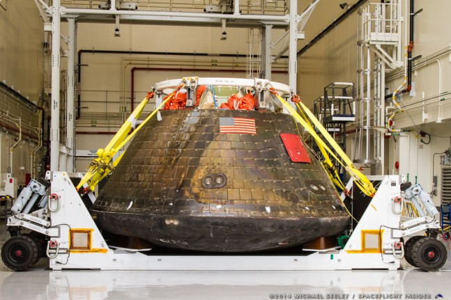Orion arrives back at Kennedy Space Center after an 8 day cross-country journey as seen on Spaceflight Insider.