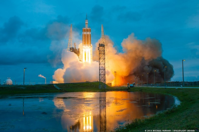 A United Launch Alliance Delta IV Heavy sent the first Orion spacecraft into orbit in December 2014. Photo Credit: Mike Howard / SpaceFlight Insider