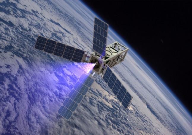 PATRIOT_plume CubeSat thruster firing University of Michigan photo posted on SpaceFlight Insider