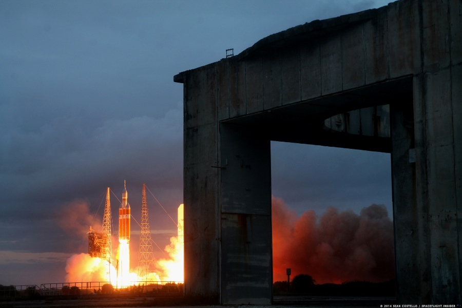 ULA Delta IV Heavy Cape Canaveral Air Force Station Space Launch Complex 37 NASA Orion Exploration Flight Test 1 EFT 1 seen from Space Launch Complex 34 photo credit Sean Costello SpaceFlight Insider