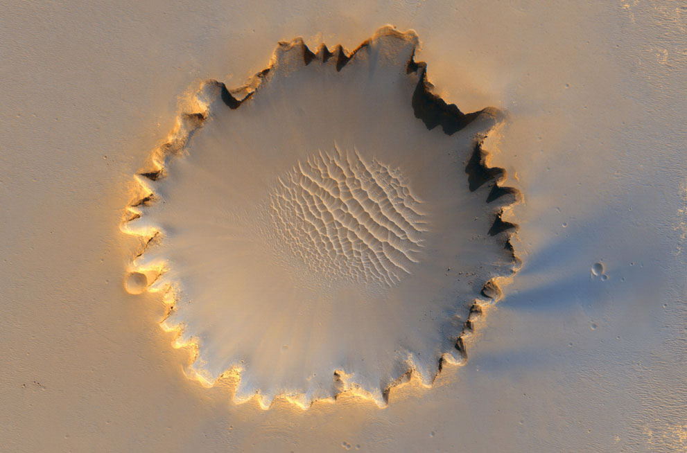 Victoria crater Mars Exploration Rover Opportunity image credit NASA JPL Caltech University of Arizona posted on SpaceFlight Insider