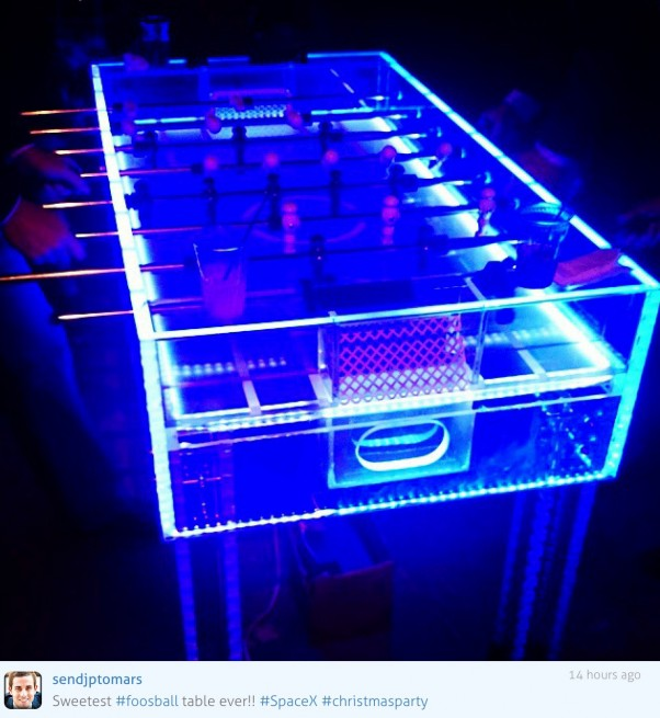 SpaceX Holiday Party Illuminated Acrylic Foosball Table