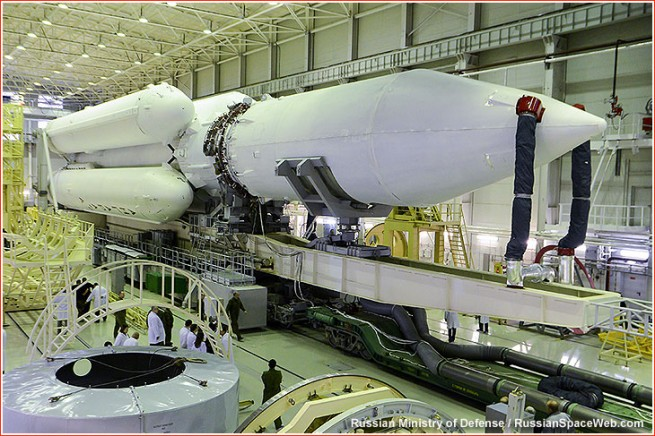 The Angara A5 rocket prior to rolling out to the pad at the beginning of Nov.  as seen on Spaceflight Insider