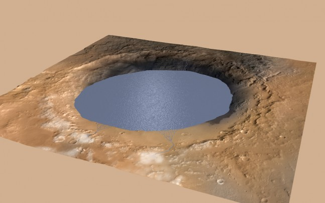 This illustration depicts a lake of water partially filling Mars' Gale Crater, receiving runoff from snow melting on the crater's northern rim Image Credit: NASA /JPL-Caltech / ESA / DLR / FU Berlin / MSSS posted on SpaceFlight Insider