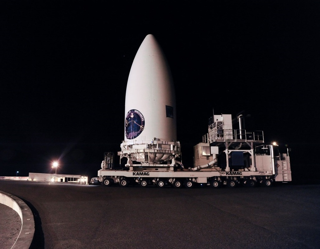 Classified NROL-35 payload being transported prior to mating with the Atlas V. Photo Credit: ULA posted on SpaceFlight Insider