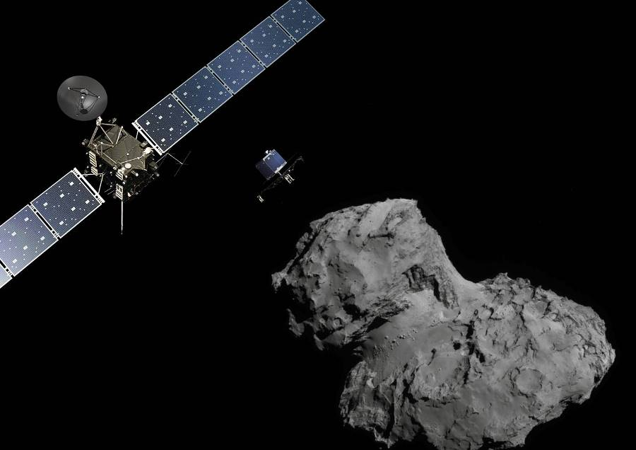 Rosetta spacecraft above comet 67P ESA European Space Agency image posted on SpaceFlight Insider