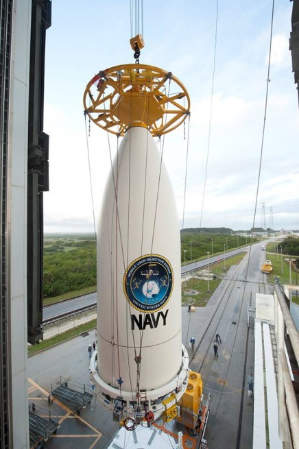 United Launch Alliance five meter Payload Fairing PLF raised atop Atlas V 551 booster at Cape Canaveral Air Force Station Vertical Integration Facility VIF ULA photo posted on SpaceFlight Insider