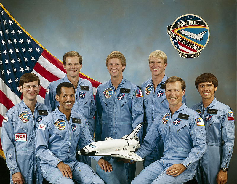 STS-61-C crew Back row L–R: Bill Nelson, Hawley, George Nelson, Front row L–R: Cenker, Bolden, Gibson, Chang-Diaz. Photo Credit: NASA posted on SpaceFlight Insider