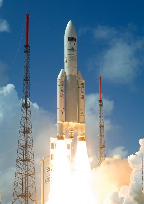 Ariane 5 rocket launch Kourou French Guiana spaceport Arianespace photo posted on SpaceFlight Insider