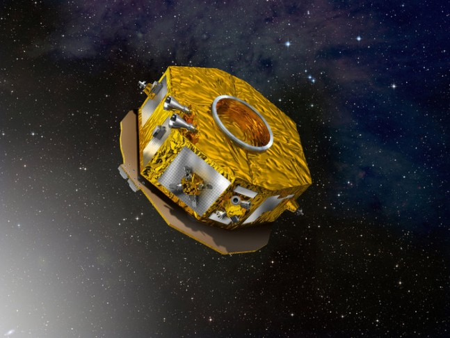 Artist's impression of LISA Pathfinder. The spacecraft will test in flight the concept of low-frequency gravitational wave detection: it will put two test masses in a near-perfect gravitational free-fall, and control and measure their motion with unprecedented accuracy. ESA image posted on SpaceFlight Insider