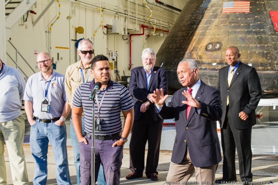 On January 6, 2014 after the CRS5 scrub, NASA Administrator Charlie Bolden met Orion for the first time. Included in the photo op were engineers who worked on the Orion program as well as the recovery teams. Photo Credit Michael Seeley SpaceFlight Insider