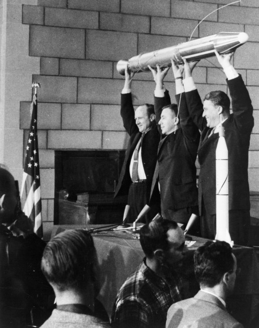 Explorer 1, America's first satellite, launched Jan. 31, 1958. From left, William H. Pickering, James Van Allen and Wernher von Braun. Click image for high resolution. Photo Credit NASA