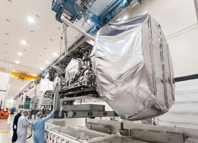 MUOS-3-Mobile-User-Objective-System-satellite-prior-to-encapsulation-on-ULA-Atlas-V-Payload-Fairing-PLF-photo-credit-United-Launch-Alliance-Lockheed-Martin-posted-on-SpaceFlight-Insider