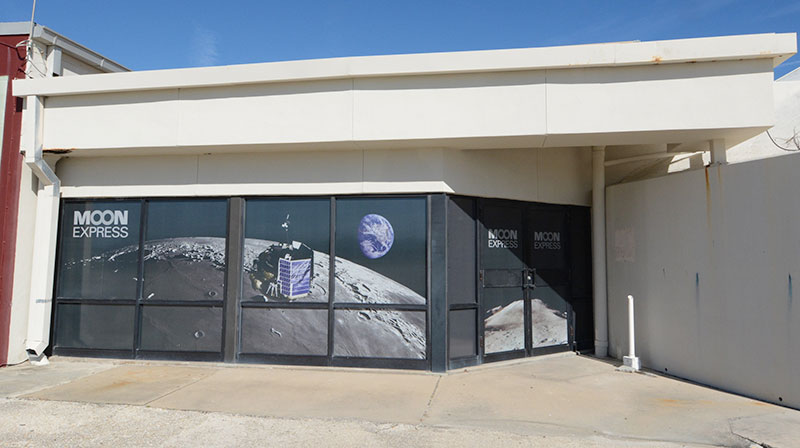The doors to the new Moon Express offices at Space Launch Complex 36. Photo Credit: Moon Express