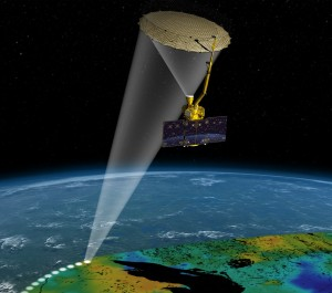NASA Soil Moisture Active Passive SMAP spacecraft in orbit above Earth NASA image posted on SpaceFlight Insider