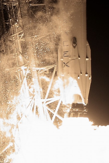 Falcon roars to life, launching Dragon on its way to the International Space Station as seen on Spaceflight Insider