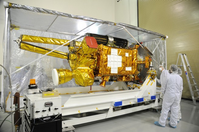 SMAP satellite prior to launch as seen on Spaceflight Insider