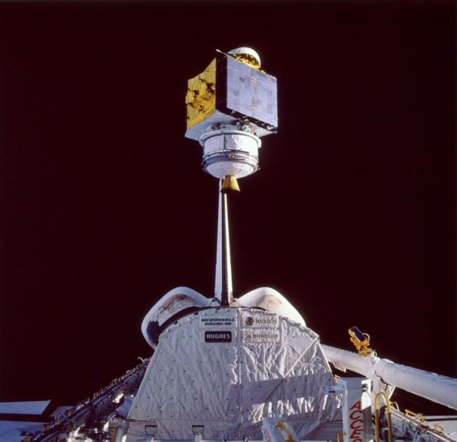 STS-61B ONBOARD PHOTO: RCS SATCOM K-2 COMMUNICATION SATELLITE DEPLOYED NASA photo posted on SpaceFlight Insider