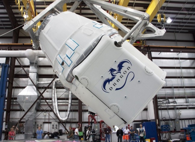 SpaceX_Dragon_C2+_rotating_for_mate_to_Falcon_9_(KSC-2012-2563) NASA photo posted on SpaceFlight Insider
