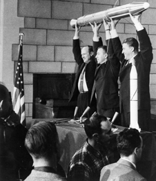 From left to right: Dr. William H. Pickering, Dr. James A. van Allen, and Dr. Wernher von Braun holding a mockup of robotic probe Explorer 1. Photo Credit NASA
