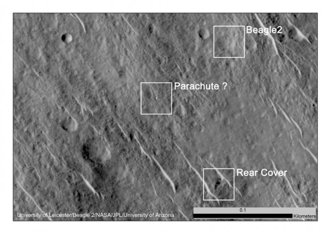 HiRISE image showing the Beagle 2 lander, rear cover, and parachute on the Martian surface as seen on Spaceflight Insider