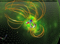 Model created to examine the magnetic field before a giant solar eruption as seen on Spaceflight Insider