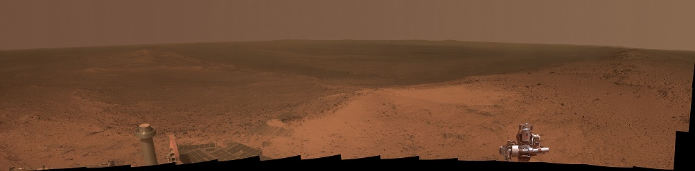 "This panorama is the view NASA's Opportunity rover gained from the top of the ""Cape Tribulation"" segment of the rim of Endeavour Crater. The rover reached this point three weeks before the 11th anniversary of its January 2004 landing on Mars. Image Credit: NASA/JPL-Caltech"