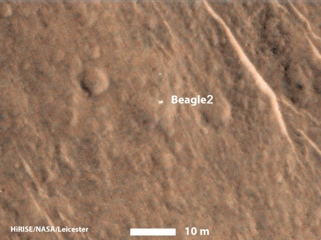 MRO's high resolution camera, HiRISE, has solved a decade old mystery and located the Beagle 2 lander on the Martian surface as seenon Sapceflight Insider