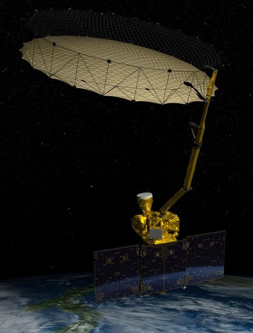 Artist impression of SMAP in orbit as seen on Spaceflight Insider