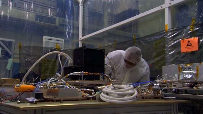 SMAP's radiometer, prior to its installation aboard the spacecraft as seen on Spaceflight Insider