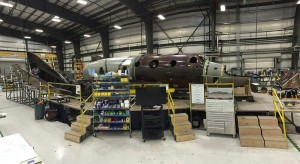 The new version of SpaceShipTwo under construction. Photo Credit: Virgin Galactic