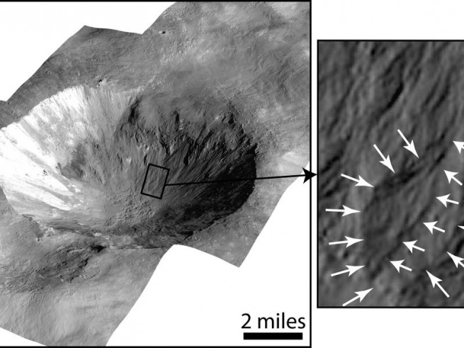 Vesta's Cornelia crater as seen on spaceflight insider