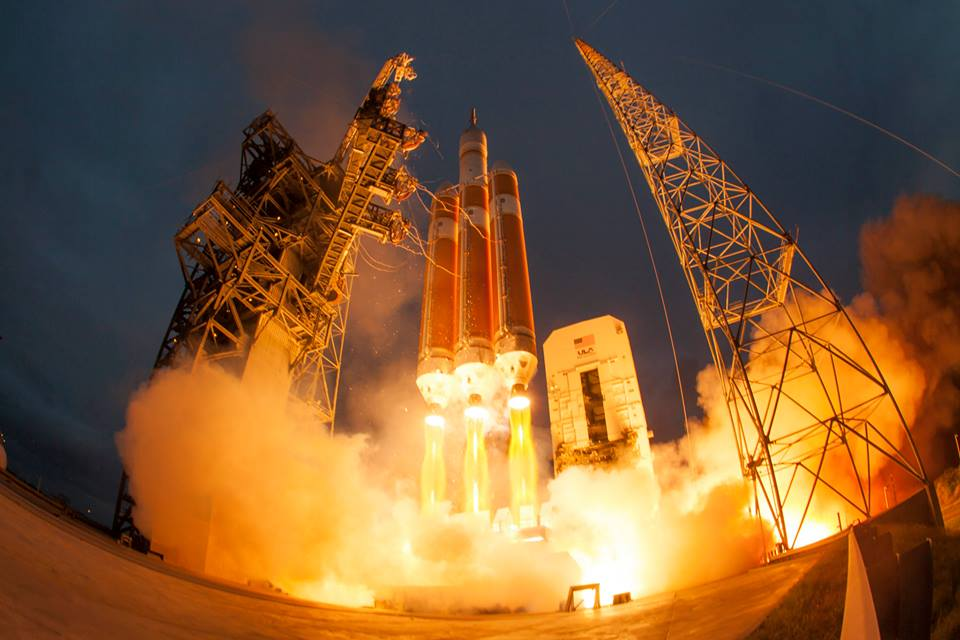 A United Launch Alliance Delta IV Heavy, with NASA's Orion spacecraft, lifts off from Cape Canaveral's SLC-37 on the EFT-1 mission, which took place last December. The mission was powered aloft by three Aerojet Rocketdyne RS-68 rocket engines. Photo Credit: NASA posted on SpaceFlight Insider
