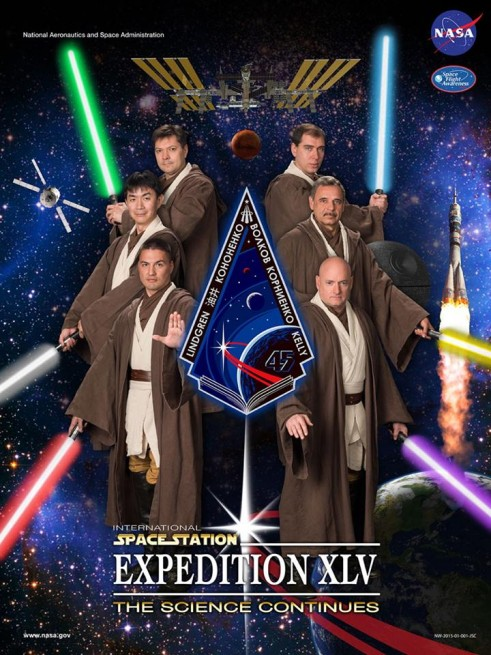 Expedition 45 crew Scott Kelly Mikhail Kornienko, Sergei Volkov and Oleg Kononenko Kjell Lindgren, and Kimiya Yui Star Wars NASA image posted on SpaceFlight Insider