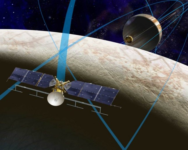 A solar-powered spacecraft could fly by Europa many times to achieve similar science return from an orbital mission, but avoid prolonged exposure to the harshest radiation environment around the moon.