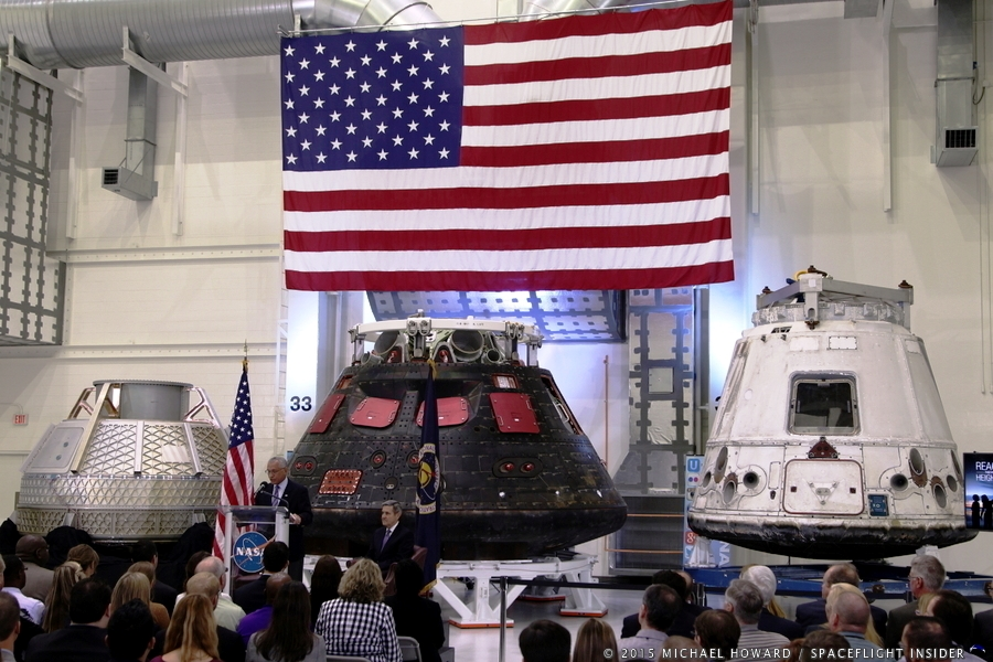 CST-100, Orion, and flown Dragon capsule displayed during the State of NASA. Photo Credit: Mike Howard / Spaceflight Insider