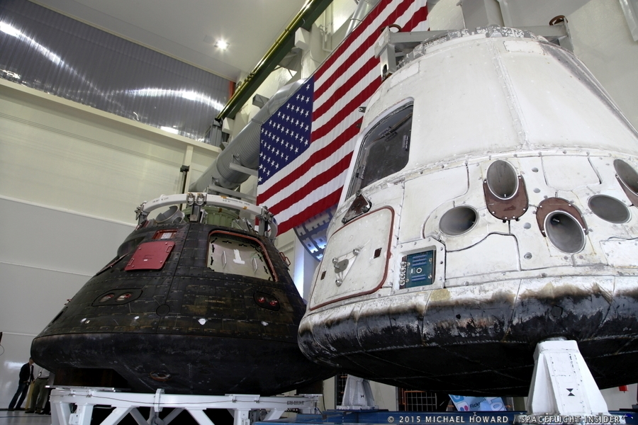 Lockheed Martin's Orion spacecraft (left) which carried out this past December's EFT-1 mission as well as one of SpaceX's Dragon spacecraft were on display during the event. Photo Credit: Mike Howard / SpaceFlight Insider