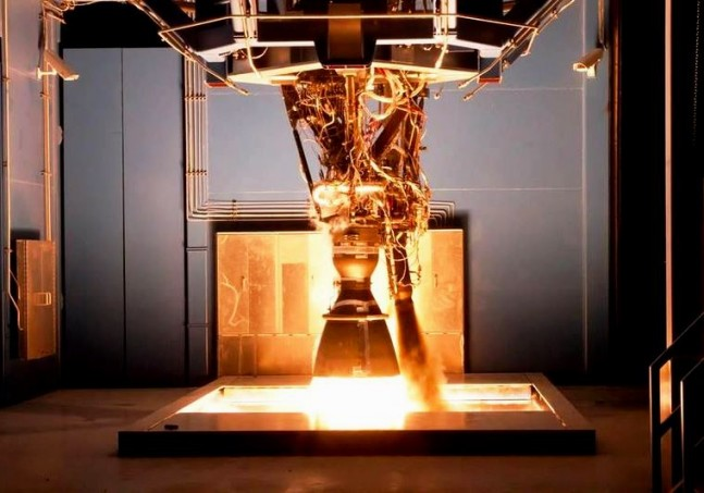 SpaceX test of the Merlin engine at the test facility in McGregor, TX. Photo Credit: SpaceX posted on SpaceFlight Insider