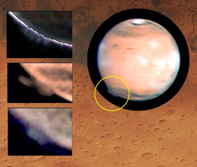 Mars plumes as seen on Spaceflight Insider