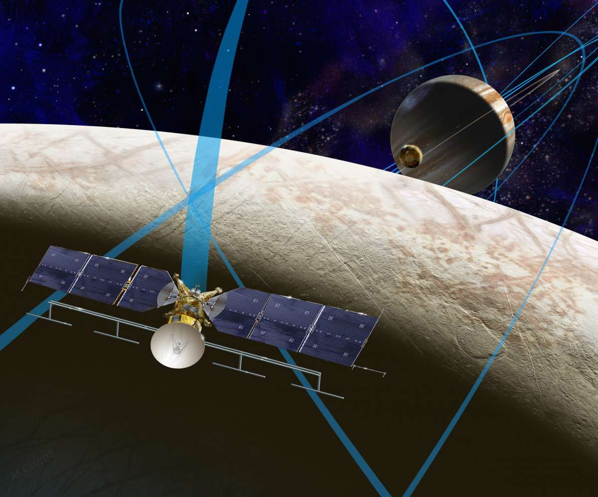 NASA's Europa Clipper mission in orbit above the Jovian moon. Credit: NASA / JPL